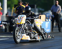 Jun 3, 2016; Epping , NH, USA; NHRA top fuel Harley motorcycle rider Peter Geiss during qualifying for the New England Nationals at New England Dragway. Mandatory Credit: Mark J. Rebilas-USA TODAY Sports