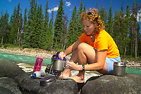 Skyline Trail, Jasper National Park, Alberta, Canada, July 2006. After coming off the skyline trail we relax next to the Athabasca River. Trekking the Skyline Trail takes you over mountain ridges and through green alpine meadows offering spectaculair mountain landscapes and lots of wildlife. Photo by Frits Meyst/Adventure4ever.com.