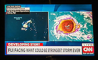 Namotu Island Resort, Nadi, Fiji (Saturday, February 20 2016): Tropical Cyclone Winston, a Cat 5 cyclone and described as the worse storm ever to hit Fiji has been bearing down on us all day from East. The predicted track has been changing all day but it looks like the cyclone will pass very close to the North or even pass right over the top of the island. Winds are forecast to reach in excess of 300 klm per hour. Photo: joliphotos.com