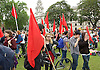 Jeremy Corbyn Rally <br /> Parliament Square, Westminster, London, Great Britain <br /> 27th June 2016 <br /> <br /> Labour activists in Parliament Square before the rally begins <br /> <br /> Photograph by Elliott Franks <br /> Image licensed to Elliott Franks Photography Services