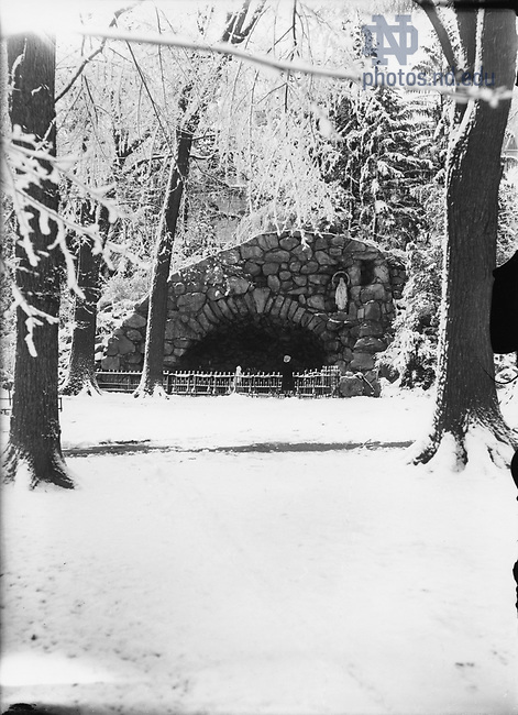 GGPP 1/25:  The Grotto in winter with snow, c1890s..Image from the University of Notre Dame Archives.