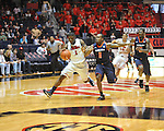 "Ole Miss' Martavious Newby (1) is fouled by Auburn guard Josh Wallace (11) at the C.M. ""Tad"" Smith Coliseum on Saturday, February 23, 2013. Mississippi won 88-55. (AP Photo/Oxford Eagle, Bruce Newman)"