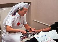 Centro donatori sangue della Croce Rossa Italiana. Blood donor center of the Italian Red Cross.Sala prelievi.....