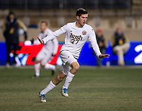 Patrick Hodan (27) of Notre Dame celebrates his goal during the NCAA Men's College Cup semifinals at PPL Park in Chester, PA.  Notre Dame defeated New Mexico, 2-0.