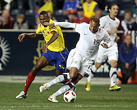 Jermaine Jones #15 of the USA MNT turns the ball away from John Viafara #15 of Colombia during an international friendly match at PPL Park, on October 12 2010 in Chester, PA. The game ended in a 0-0 tie.