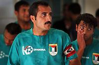 Pix:Simon Wilkinson/SWpix.com. First Islamic Solidarity Games, Jeddah, Saudi Arabia. Football, Saudi Arabia v Palestine 13/04/05...COPYRIGHT PICTURE>>SIMON WILKINSON>>01943 608782>>..The Palestinian soccer team. Palestinian captain Saeb Jendeya and midfield player  Ibrahim Sweirki eye up the Saudi opposistion
