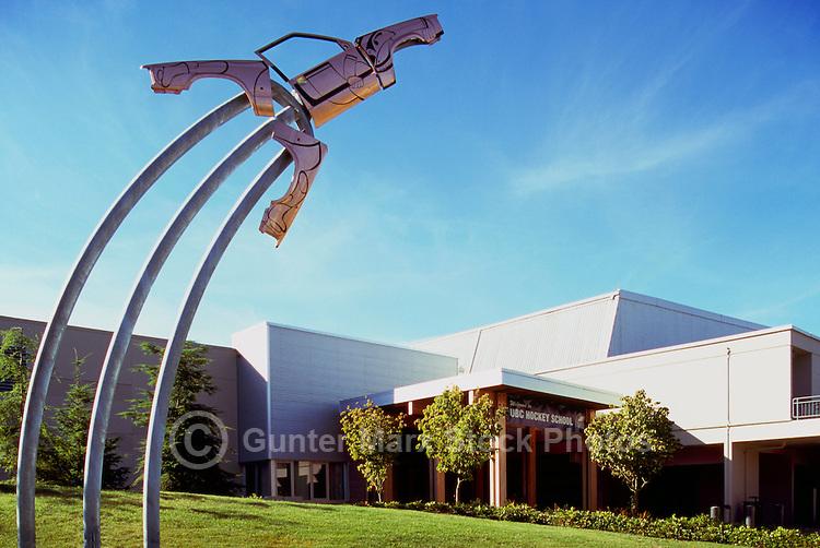 "Haida Aboriginal Art outside Doug Mitchell Thunderbird Sports Centre, University of British Columbia (UBC), Vancouver, BC, British Columbia, Canada - Contemporary Sculpture entitled ""Take-Off"" aka ""Take Off"" (artist - Michael Nicoll Yahgulanaas) - made from Recycled Car Parts to resemble Mallard Duck taking Flight"