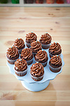 Sugar Sugar in Salem, Oregon.  Mini chocolate cupcakes with chocolate buttercream icing.