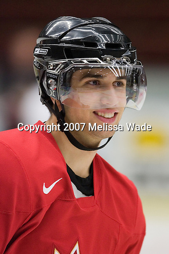 Andrew Cogliano (Woodbridge, ON - University of Michigan Wolverines) took part in Team Canada's morning skate on Friday, January 5, 2007 prior to meeting Russia in the 2007 World Championship gold medal game at Ejendals Arena in Leksand, Sweden.