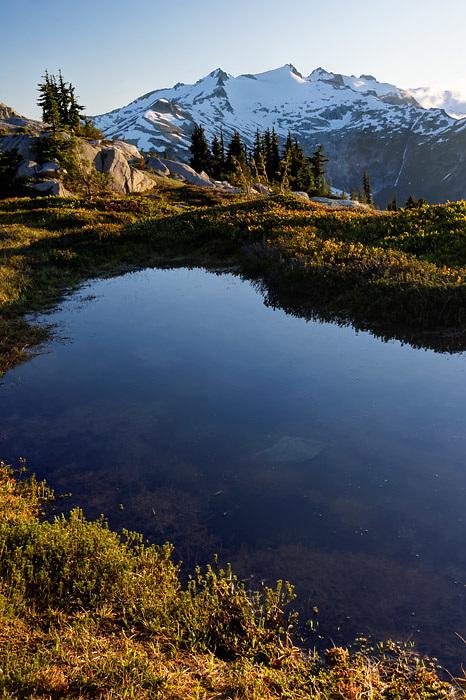 View of Mount Daniel and subalpine pond on Wenatchee Mountains, central Washington Cascade Mountains