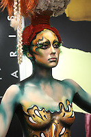 Make Up For Ever model wears body paint, at the Makeup Show NYC, in the Metropolitan Pavilion, May 15 2011.