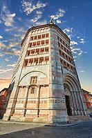 Orth entrance & exterior of the octagonal  Romanesque Baptistery of Parma, circa 1196, (Battistero di Parma), Italy
