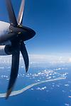 Apataki Atoll, Tuamotu Archipelago, French Polynesia; aerial views of the Apataki Atoll while flying south from Rangiroa to Fakarava