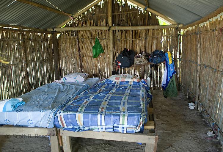 Inside a basic, bamboo hut on Isla Pelikano, San Blas Islands, Kuna Yala, Panama