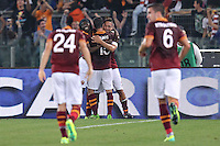ROME, Italy - September 29, 2013: Roma beats Bologna 5-0 during the Serie A match in Olimpico Stadium. I  the photo Roma's players celebrating the goal of 2-0