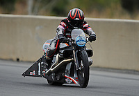 Mar. 11, 2012; Gainesville, FL, USA; NHRA pro stock motorcycle rider Eddie Krawiec during the Gatornationals at Auto Plus Raceway at Gainesville. Mandatory Credit: Mark J. Rebilas-