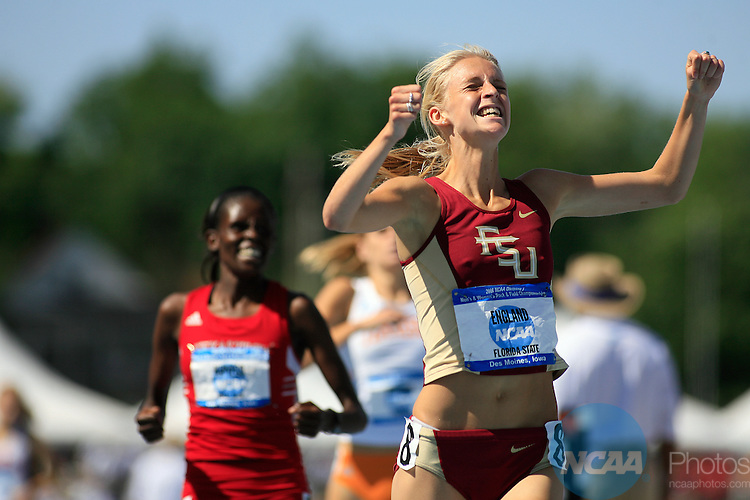 14 June, 2008:  Florida State's Hannah England was jubilant as she won the 1500 meters at the NCAA Division 1 Men's and Women's Track & Field Championships in Des Moines, Iowa.   David Peterson/NCAA Photos