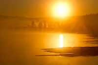 Yellowstone River at sunrise in the Hayden Valley