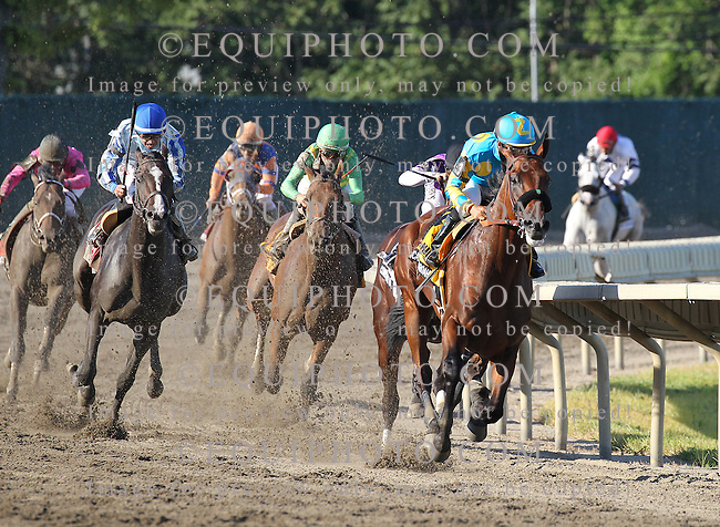 American Pharoah #4 with Victor Espinoza riding, leads the field around the final turn enroute to victory in the $1,750,000 Grade 1 William Hill Haskell Invitational at Monmouth Park in Oceanport, New Jersey on Sunday August 2, 2015.  Photo By Ryan Denver/EQUI-PHOTO.