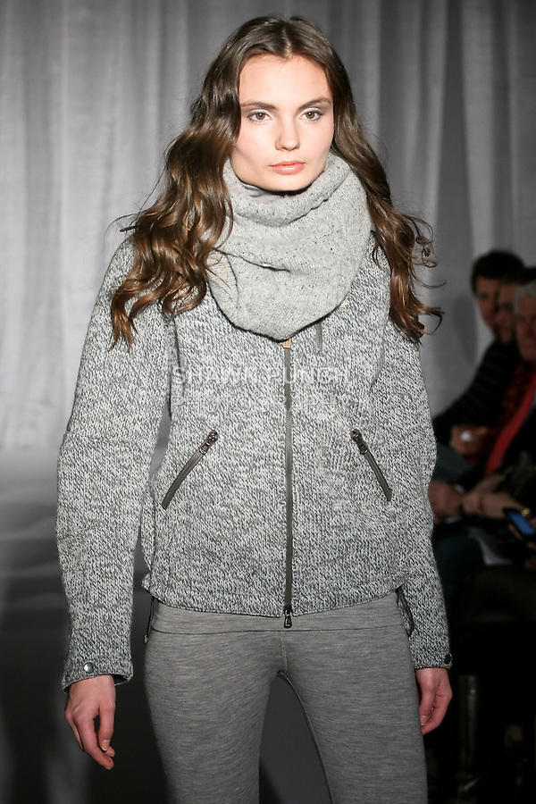 Model walks runway in a winter outfit, for the 66&deg; North Winter 2011 collection fashion show, January 5, 2011.