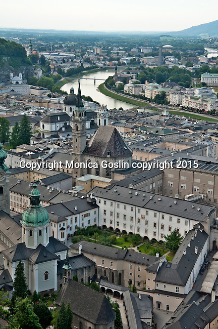Looking down at the city center from the Hohensalzburg Fortress; views of St. Peter's Cemetery and Nonnberg Abbey