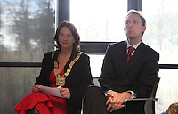 ***NO FEE PIC***.15/11/2010.An Cathaoirleach Cllr Lettie McCarthy.Minister for Children Barry Andrews TD .at the launch of Children's Hope.TV at The Media Cube, IADT,Dun Laoghaire, Co. Dublin..The Irish children's Charity Children's Hope has developed an online educational resource for young people & youth workers, a website caleed www.childrens-hope.tv..The websitte features short curriculm-adhering educational programmes available to be played by young people in after-school projects geared to Youth & Comunity Leaders..Photo: Gareth Chaney Collins
