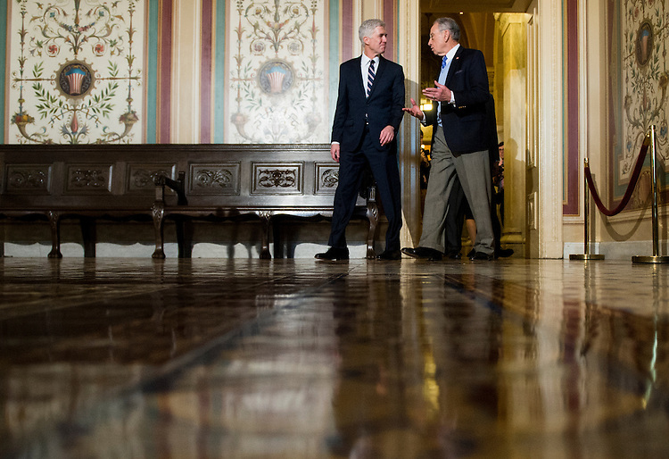UNITED STATES - FEBRUARY 1: President Donald Trump's nominee for the Supreme Court Judge Neil Gorsuch, and Senate Judiciary Committee chairman Sen. Chuck Grassley, R-Iowa, arrive to speak to reporters following their meeting in the Capitol on Wednesday, Feb. 1, 2017. (Photo By Bill Clark/CQ Roll Call)