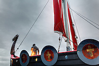Replica of Viking ship Vallhalla at Bojer Wikan Fishermen's Memorial Park, Petersburg, Alaska, USA