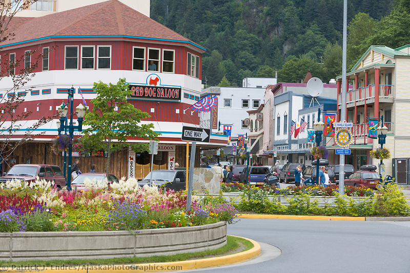 Summer flowers decorate the streets in downtown Juneau, Alaska.