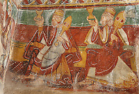 Procession of the Three Kings, carrying frankincense and cythara for the Nativity, detail of the 12th century frescoes in the choir of the Pre-Romanesque Chapel of Saint Martin de Fenollar (Sant Marti de Fenollar), 9th century, Maureillas Les Illas, Pyrenees Orientales, France. The frescoes are an outstanding piece of work, which greatly impressed modern artists, especially Pablo Picasso and Georges Braque in 1910. Picture by Manuel Cohen