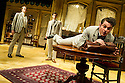London, UK. 27.09.2012. CHARLEY'S AUNT, by Brandon Thomas, opens at the Menier Chocolate Factory. The production is directed by Ian Talbot. Starring Jane Asher, Matthew Horne and Norman Pace. Picture shows: Benjamin Askew (Charley Wykeham), Dominic Tighe (Jack Chesney), Mathew Horne (Lord Fancourt Babberley). Photo credit: Jane Hobson.