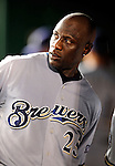 22 August 2009: Milwaukee Brewers' outfielder Mike Cameron looks out from the dugout during a game against the Washington Nationals at Nationals Park in Washington, DC. The Brewers defeated the Nationals 11-9 in the second game of their four-game series. Mandatory Credit: Ed Wolfstein Photo