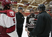Dan Ford (Harvard - 5), Brad Leblanc, Dennis Robertson (Brown - 20), Scott Whittemore - The visiting Brown University Bears defeated the Harvard University Crimson 2-0 on Saturday, February 22, 2014 at the Bright-Landry Hockey Center in Cambridge, Massachusetts.