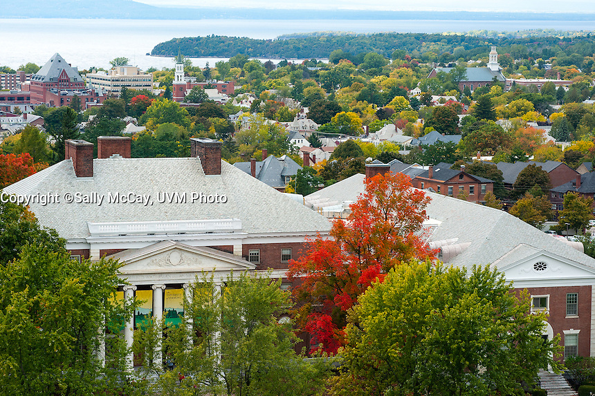 The UVM Campus Burlington, Vermont and Lake Champlain. UVM Fall Campus