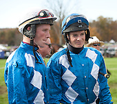 Darren Nagle, left, and Jeff Murphy prepare for battle in Bill Pape's colors before the Grand National.