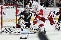 03/02/11 Anaheim, CA: Anaheim Ducks goalie Dan Ellis #38 and Detroit Red Wings right wing Daniel Cleary #11 during an NHL game between the Detroit Red Wings and the Anaheim Ducks at the Honda Center. The Ducks defeated the Red Wings 2-1 in OT.