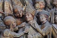 The arrest of St Firmin, Gothic style polychrome high-relief sculpture from the South side of the choir screen, 1490-1530, commissioned by canon Adrien de Henencourt, depicting the life of St Firmin, at the Basilique Cathedrale Notre-Dame d'Amiens or Cathedral Basilica of Our Lady of Amiens, built 1220-70 in Gothic style, Amiens, Picardy, France. St Firmin, 272-303 AD, was the first bishop of Amiens. Amiens Cathedral was listed as a UNESCO World Heritage Site in 1981. Picture by Manuel Cohen