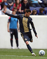Cristian Arrieta #26 of the Philadelphia Union lines up a shot during a MLS match against the New York RedBulls on April 24 2010, at RedBulll Arena, in Harrison, New Jersey.RedBulls won 2-1.