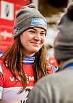5 December 2015: Summer Britcher of the United States of America, is is interviewed after her third place finish in the Viessmann World Cup Women's Luge at the Olympic Sports Track in Lake Placid, New York, USA. Mandatory Credit: Ed Wolfstein Photo *** RAW (NEF) Image File Available ***