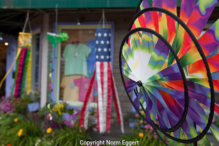 Colorful Whirligig Near Harbor in Camden Maine