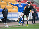 St Johnstone v Hibs...22.03.14    SPFL<br /> Gary Miller holds of Sam Stanton<br /> Picture by Graeme Hart.<br /> Copyright Perthshire Picture Agency<br /> Tel: 01738 623350  Mobile: 07990 594431