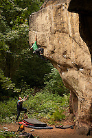 Ben Bransby making the second ascent (first ground-up) of Cornelius, E8 6c/ font 7c, Ina's Rock, Churnet Valley, Staffs, UK