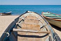 Old fishing boat sitting on beach, La Paz, Baja