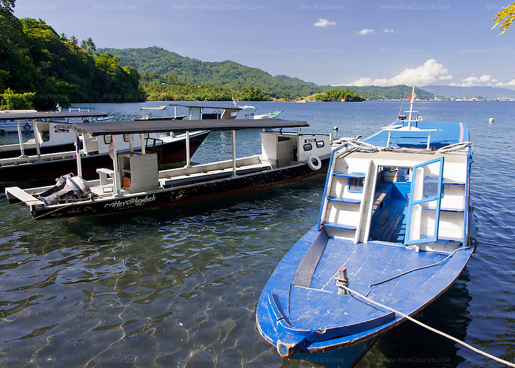"The Lembeh Resort's main ""taxi"" (blue) awaits passengers going from the resort to the landing at Bitung port, North Sulawesi, Indonesia."
