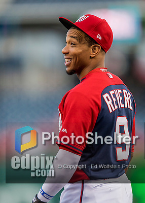 13 October 2016: Washington Nationals outfielder Ben Revere awaits his turn in the batting cage prior to Game 5 of the NLDS against the Los Angeles Dodgers at Nationals Park in Washington, DC. The Dodgers edged out the Nationals 4-3, to take Game 5 of the Series, 3 games to 2, and move on to the National League Championship Series against the Chicago Cubs. Mandatory Credit: Ed Wolfstein Photo *** RAW (NEF) Image File Available ***
