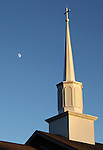 The moon was visible about half an hour before sunset next to the steeple of Hopewell Baptist Church near Corbin, Ky., in Laurel County, on Wednesday, Oct. 24, 2012. Photo by Becca Clemons