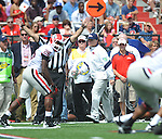 Ole Miss head coach Houston Nutt argues a call at Vaught-Hemingway Stadium in Oxford, Miss. on Saturday, September 24, 2011. The play was reversed. Georgia won 27-13.