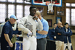 11 February 2017: UNC's Theophilus Onigbinde prepares for his Saber match. The Duke University Blue Devils hosted the University of North Carolina Tar Heels at Card Gym in Durham, North Carolina in a 2017 College Men's Fencing match. Duke won the dual match 19-8 overall, 6-3 Foil, 6-3 Epee, and 7-2 Saber.