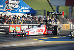 Jun. 17, 2011; Bristol, TN, USA: NHRA top fuel driver Shawn Langdon during qualifying for the Thunder Valley Nationals at Bristol Dragway. Mandatory Credit: Mark J. Rebilas-