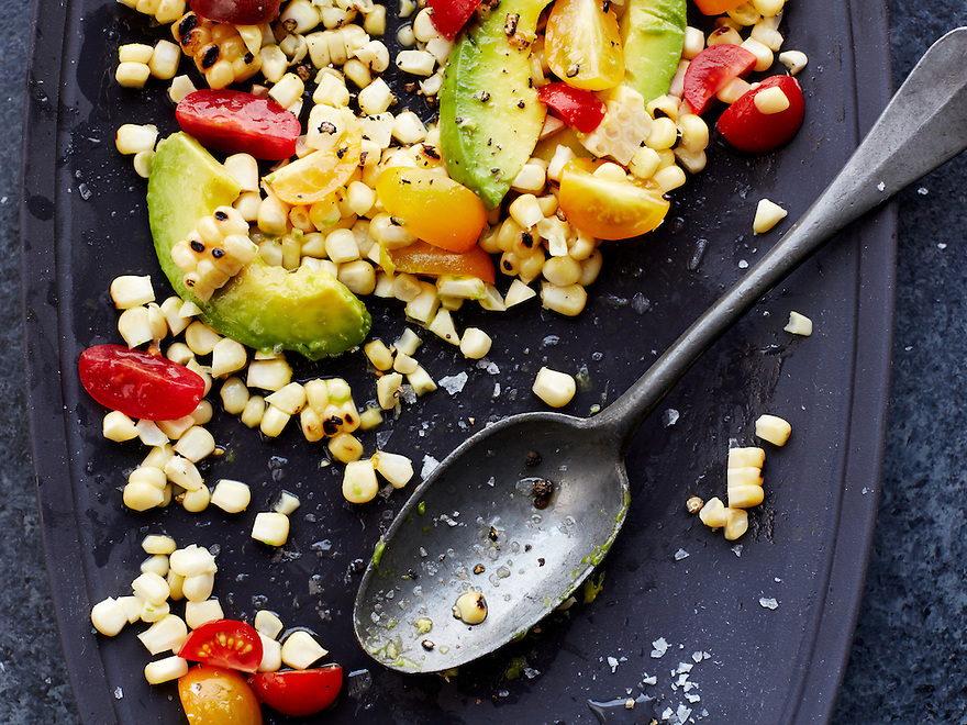 Tomato and Avocado Summer Salad with Fresh Grilled Corn